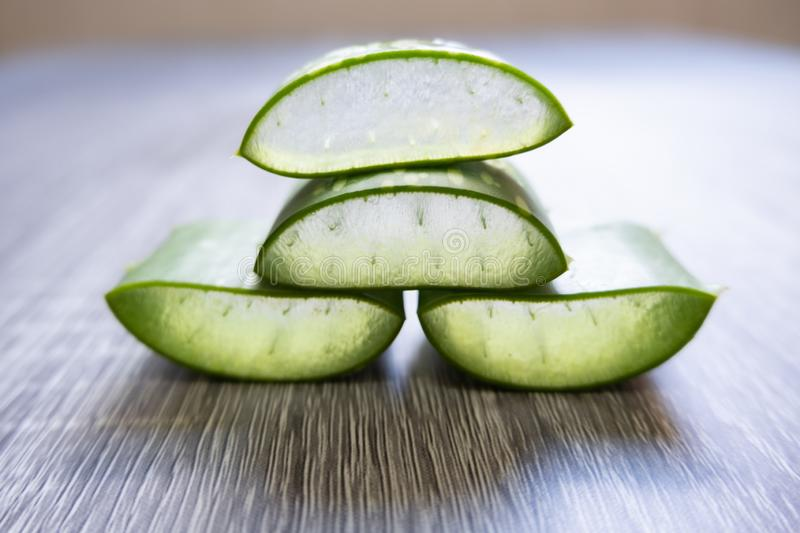 Aloe vera Gel that has both substances to cure scars And used to produce health drinks Or cosmetics that are good for the skin.  stock photo