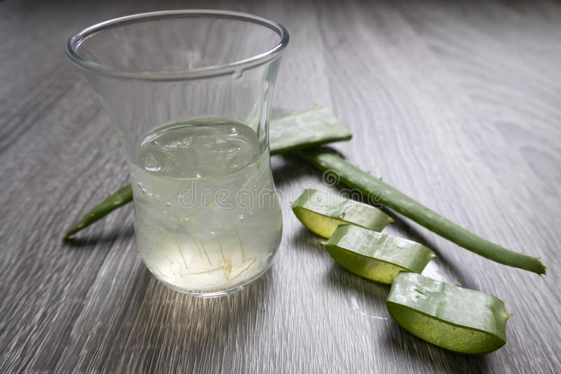 Aloe vera Gel that has both substances to cure scars And used to produce health drinks Or cosmetics that are good for the skin.  stock image