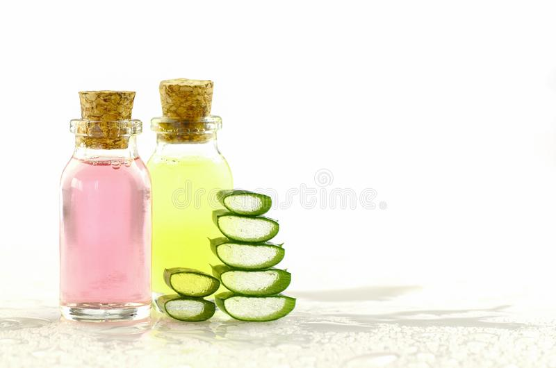 Aloe Vera gel and spa products on white background. Natural products concept stock photography
