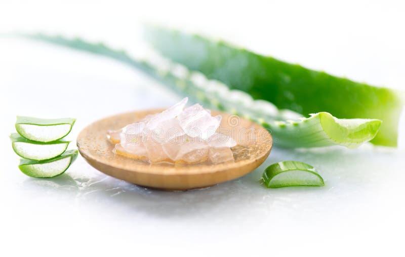 Aloe-Vera-Gelnahaufnahme Geschnittenes aloevera Blatt und Gel, natürliche organische kosmetische Bestandteile für empfindliche Ha lizenzfreies stockbild