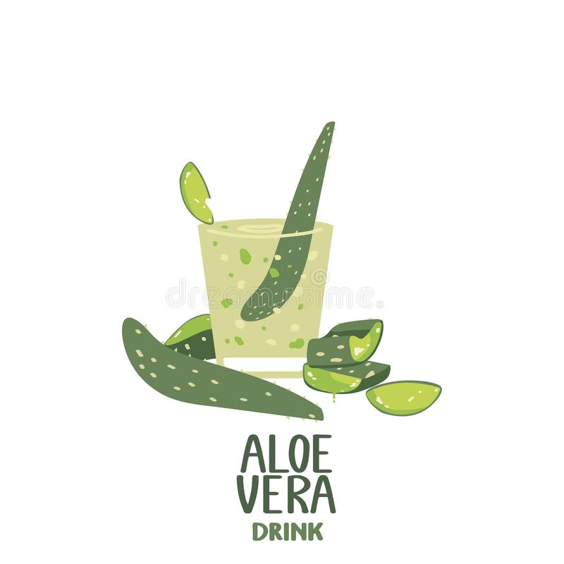 Aloe vera juice isolated on a white background. Healthy drink .Cocktail in a glass. Vector illustration in freehand drawing style vector illustration