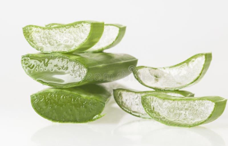 Aloe Vera Leaves. Fresh sliced aloe vera leaves isolated on white background stock photography