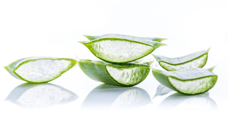 Aloe Vera leaves. On white background stock images