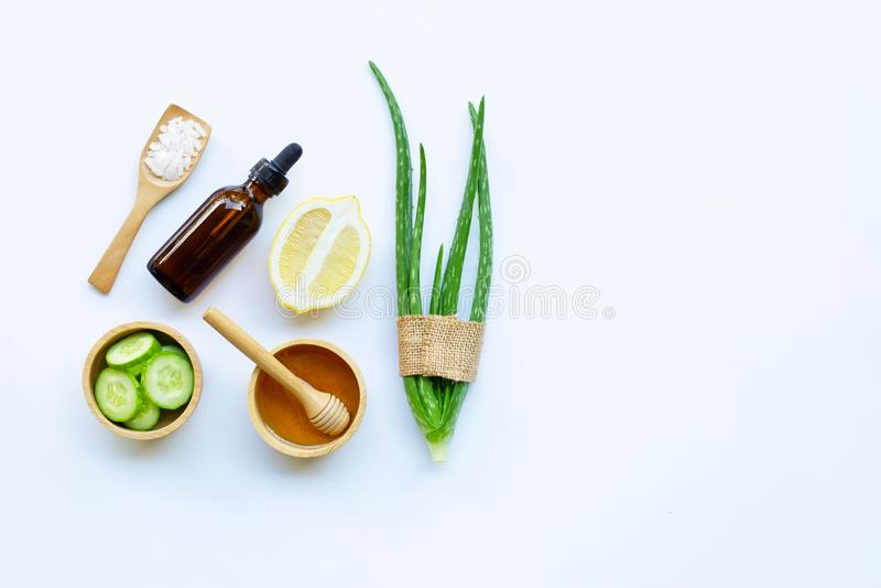 Aloe vera, lemon, cucumber, salt, honey. Natural ingredients for homemade skin care. On white stock images