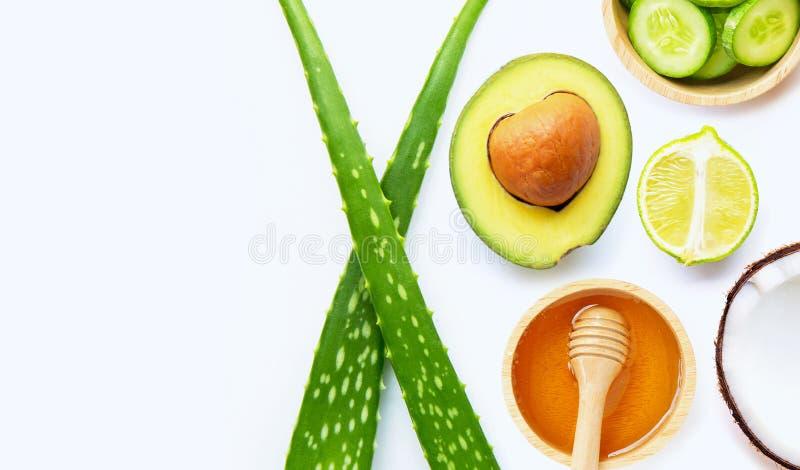 Aloe vera, lemon, cucumber, salt, honey. Natural ingredients for homemade skin care on white. Copy space stock image