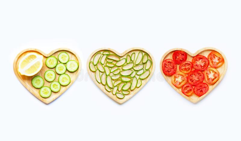 Aloe vera, lemon, cucumber and tomatoes. Natural ingredients for homemade skin care. On white stock photos