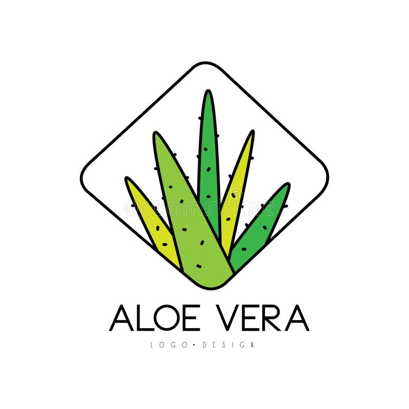 Aloe Vera logo design, natural product badge, beauty and cosmetics green label vector Illustration on a white background. Aloe Vera logo design, natural product royalty free illustration