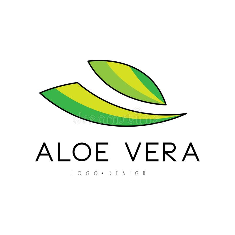 Aloe Vera logo design, natural product badge, label for beauty and cosmetics green label vector Illustration on a white. Aloe Vera logo design, natural product vector illustration