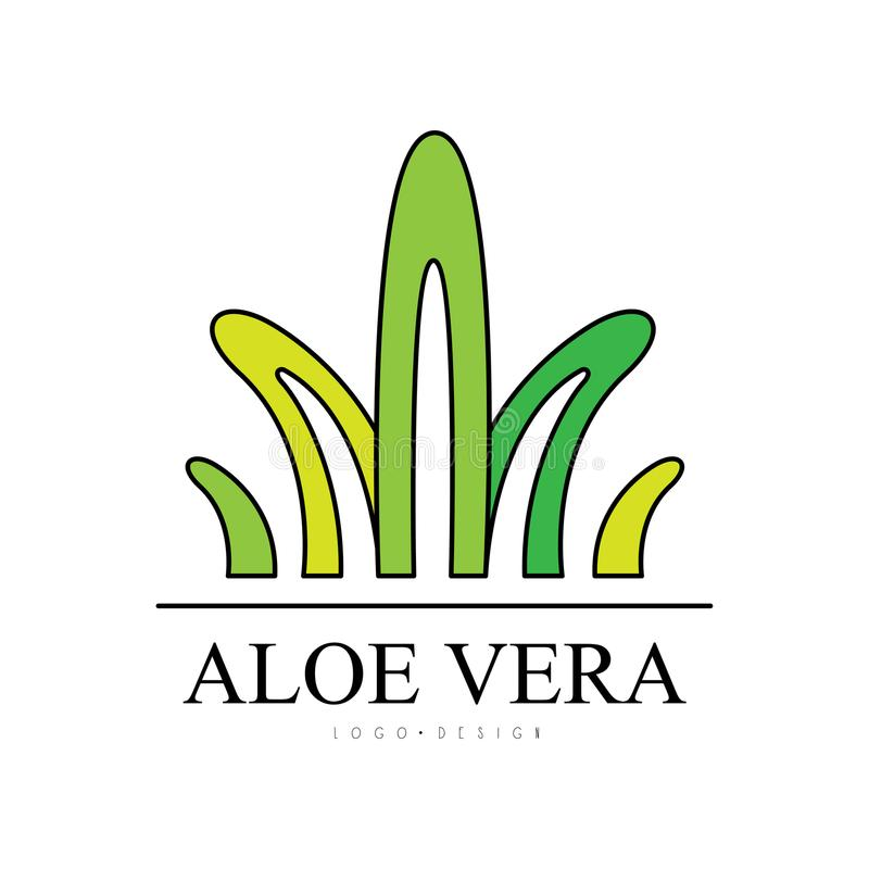 Aloe Vera logo design, natural product badge, organic cosmetics and health care green label vector Illustration on a. Aloe Vera logo design, natural product stock illustration
