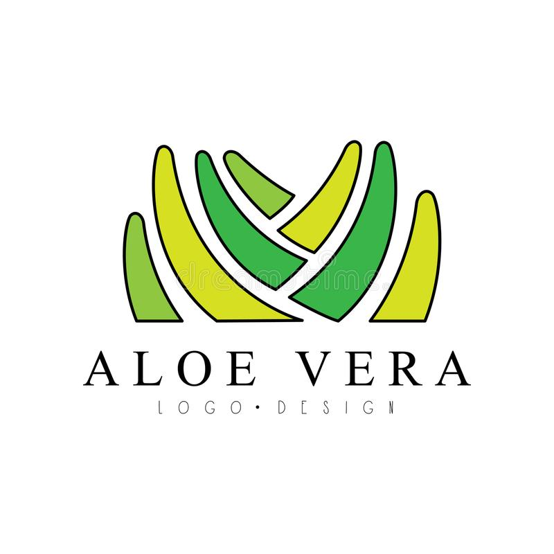 Aloe Vera logo design, natural product badge, organic cosmetics and health care label vector Illustration on a white. Aloe Vera logo design, natural product stock illustration