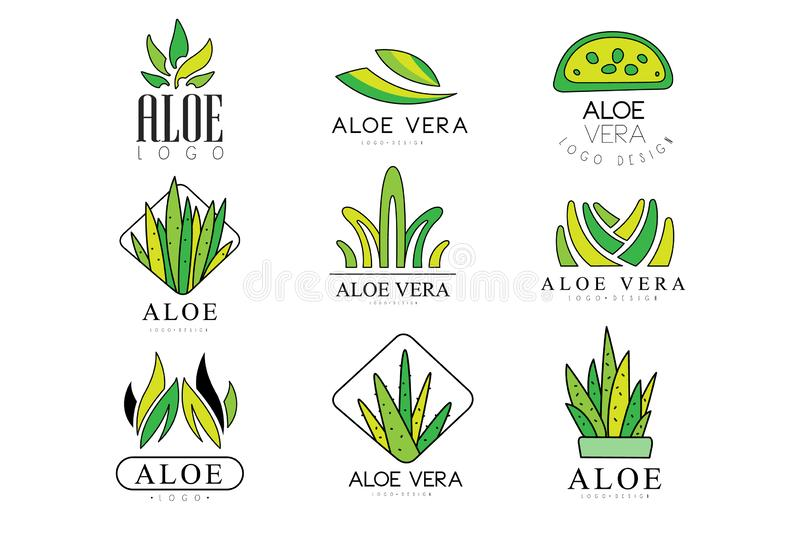 Aloe Vera logo design set, natural product green badges, organic cosmetics, health care and beauty label vector. Illustrations isolated on a white background royalty free illustration