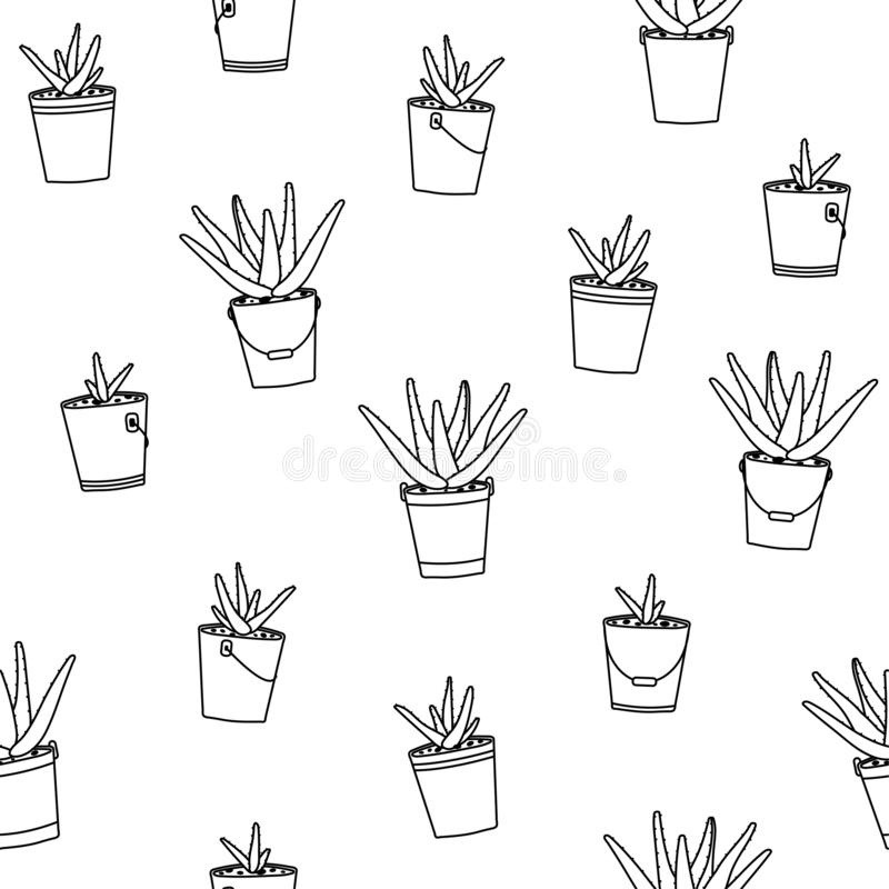 Aloe vera in pots seamless pattern on a white background. Botanical illustration for wallpaper, background, textile, print. Vector royalty free illustration