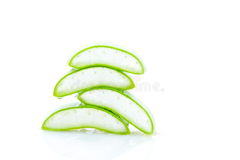 Aloe vera slice on white background.  stock image
