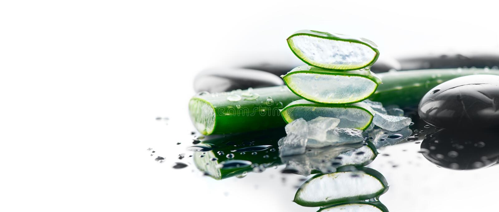 Aloe Vera sliced leaf and spa stones closeup on white background, natural organic renewal cosmetics, alternative medicine stock photography