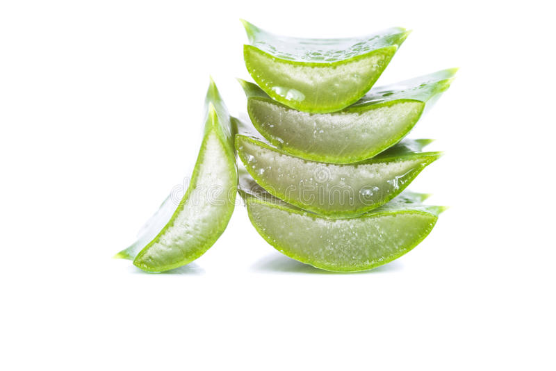 Aloe vera slices. Organic aloe vera slices on white background stock photos