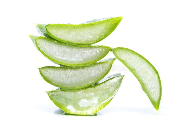 Aloe vera slices. Organic aloe vera slices on white background royalty free stock image