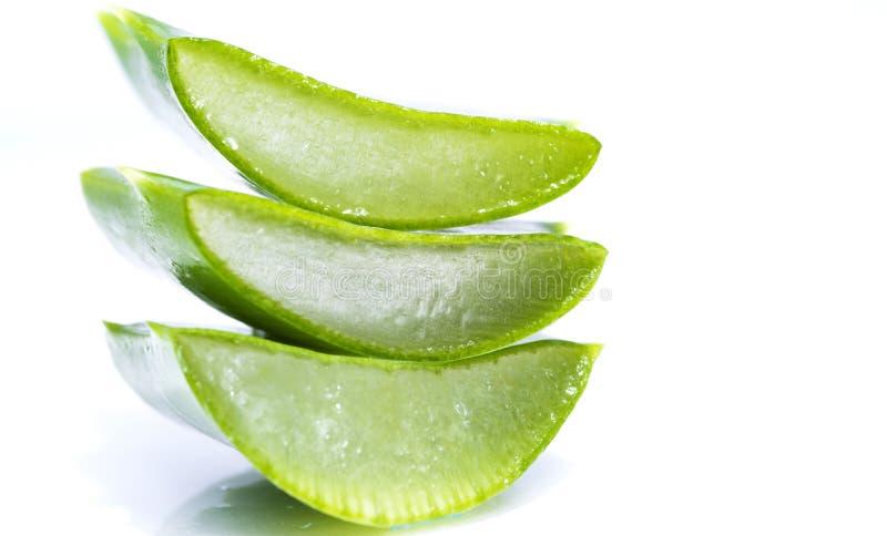 Aloe vera slices. Organic aloe vera slices on white background stock images