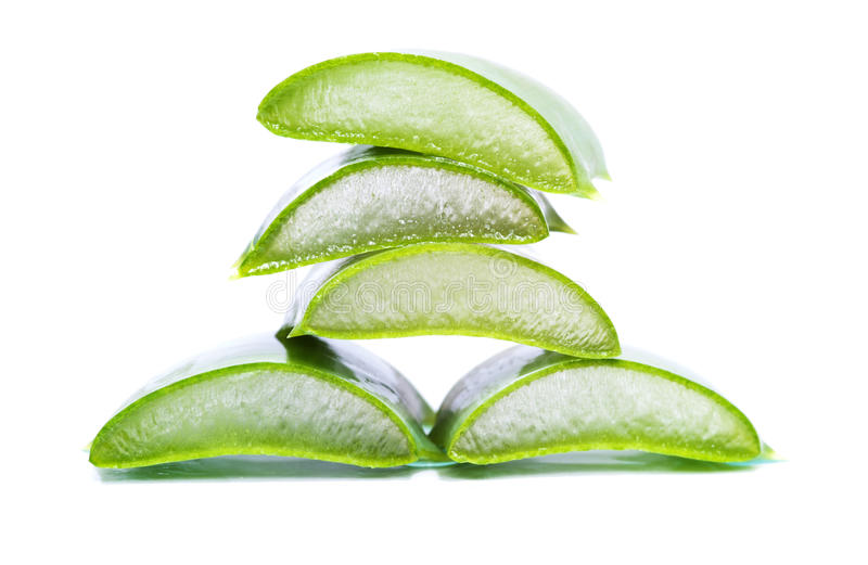 Aloe vera slices. Organic aloe vera slices on white background royalty free stock photography