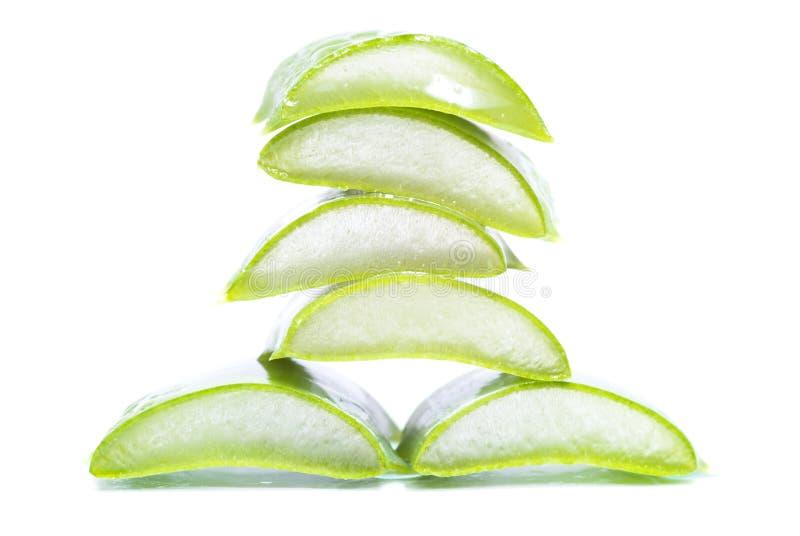 Aloe vera slices. Organic aloe vera slices on white background stock image