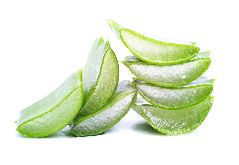 Aloe vera slices. Organic aloe vera slices on white background stock photography