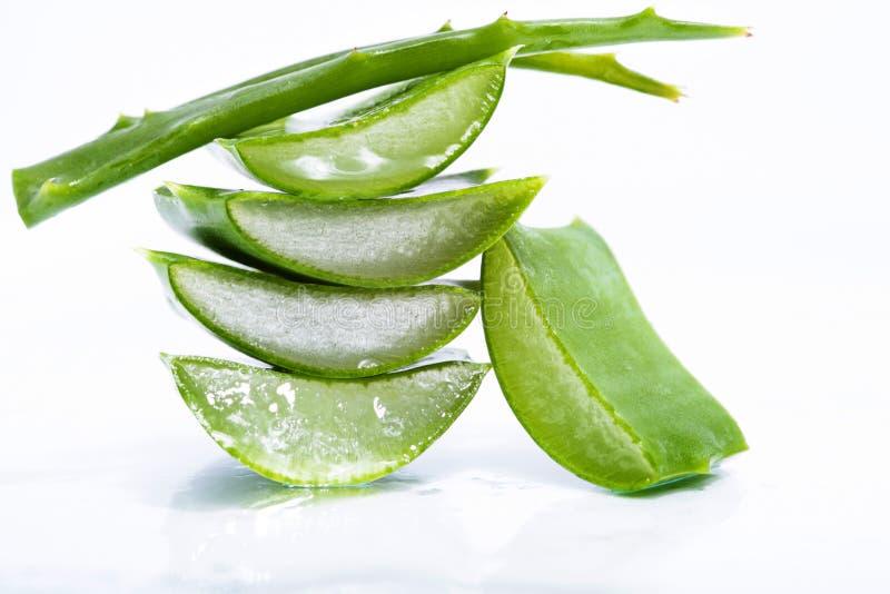 Aloe vera slices. Organic aloe vera slices on white background royalty free stock images