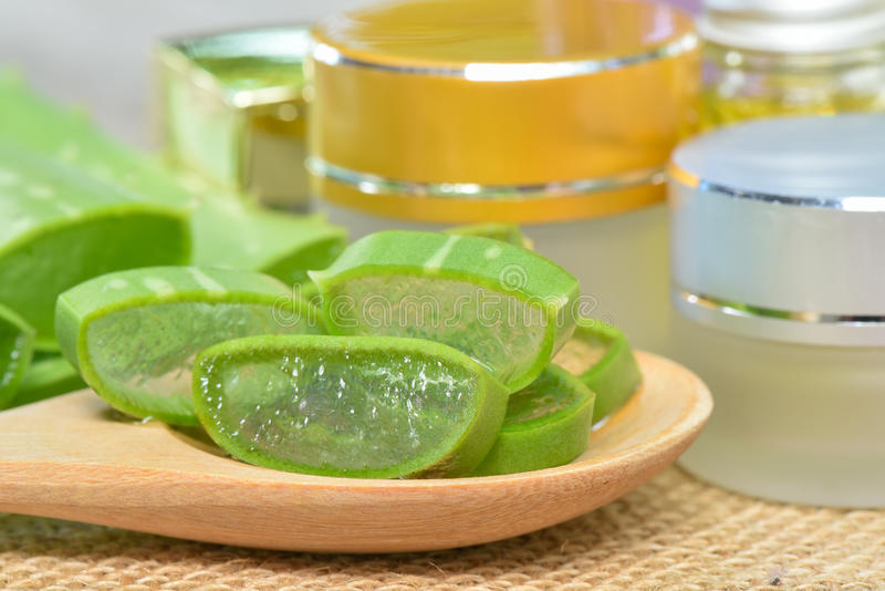 Aloe Vera use in spa for skin care. And cosmetic stock image
