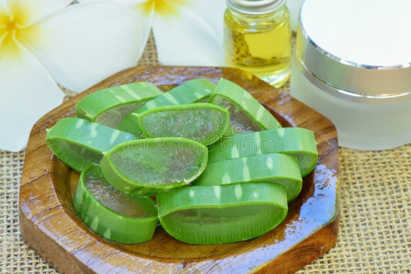 Aloe vera use in spa for skincare. And cosmetic stock photo