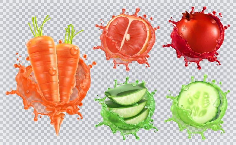 Aloesu sok, marchewki, grapefruitowy, granatowiec i ogórek kartonowe koloru ikony ustawiać oznaczają wektor trzy ilustracja wektor