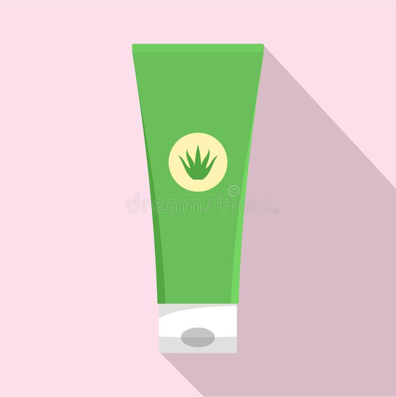 Aloesu Vera creme tubki ikona, mieszkanie styl ilustracja wektor