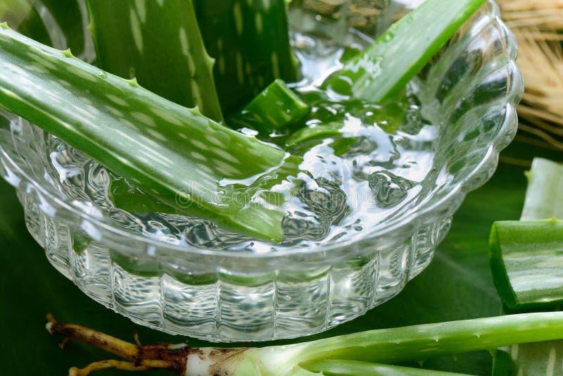 Aloesu Vera gel w pucharze na z drewnianym stołem zdjęcia stock
