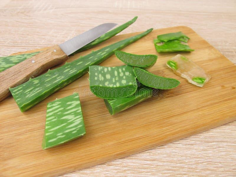 Aloesu Vera liście i gel obrazy stock