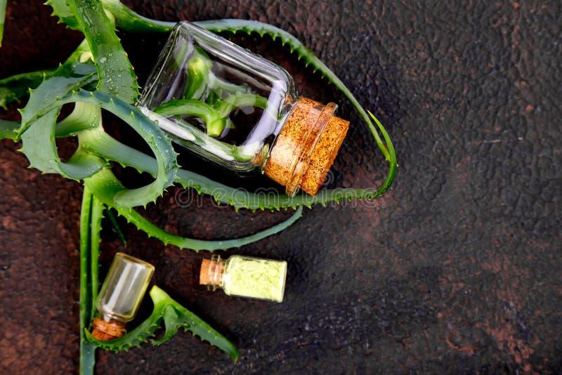 Aloesu Vera olej w szklanej butelce i ręczniku dla zdroju obrazy stock