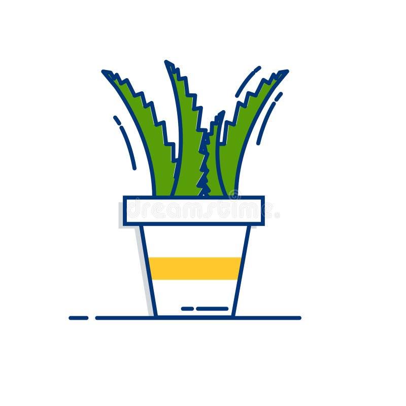 Aloevera symbol - med översikt fylld stil stock illustrationer
