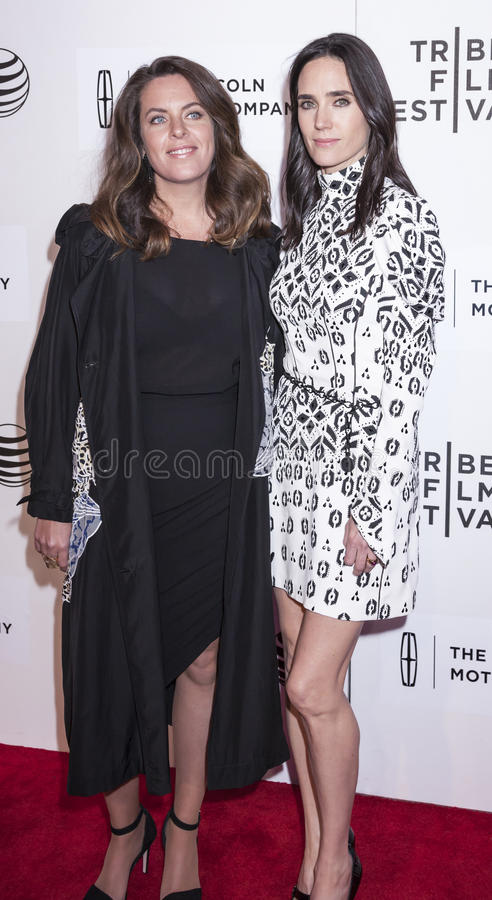 Aloft. New York, NY, USA - April 23, 2015: Claudia Llosa)L) and Jennifer Conelly attend 2015 New York Tribeca Film Festival Premiere Narrative Aloft at BMCC stock photography
