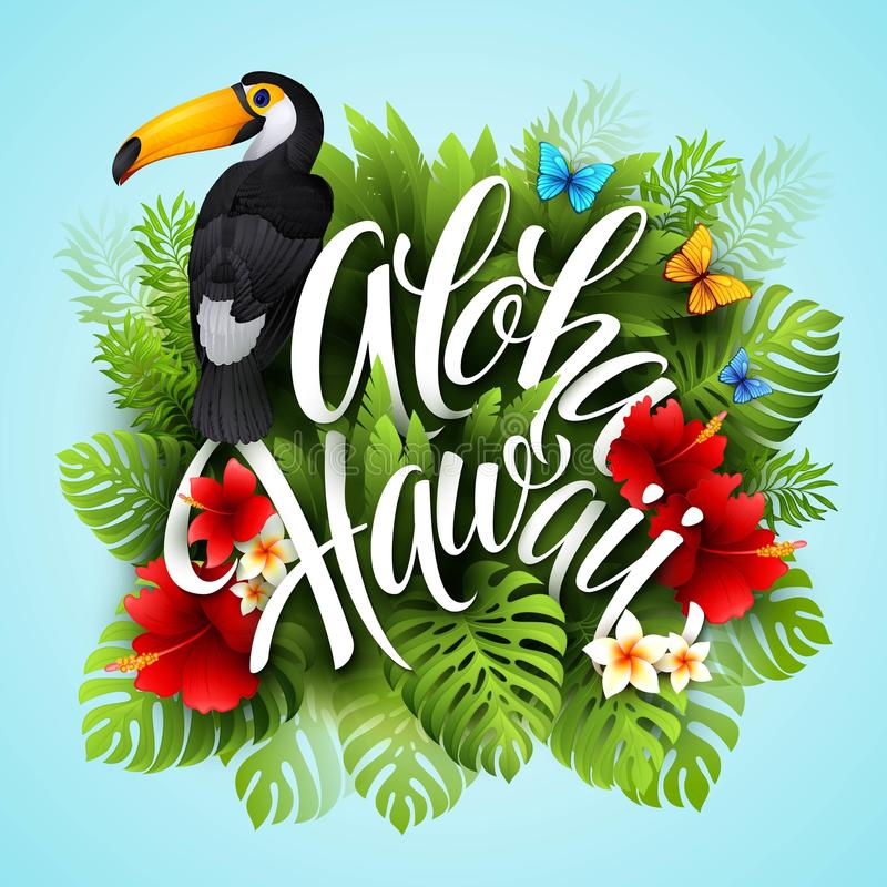 aloha Χαβάη Εγγραφή χεριών με τα εξωτικά λουλούδια ελεύθερη απεικόνιση δικαιώματος
