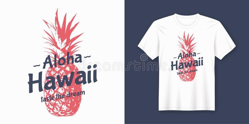 aloha Χαβάη Μοντέρνο σύγχρονο σχέδιο μπλουζών και ενδυμασίας με την καρφίτσα απεικόνιση αποθεμάτων
