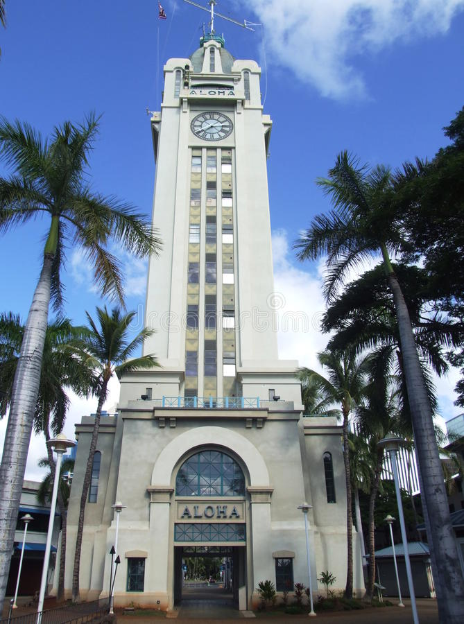 Aloha башня, Гонолулу, Оаху, Гаваи стоковое изображение rf