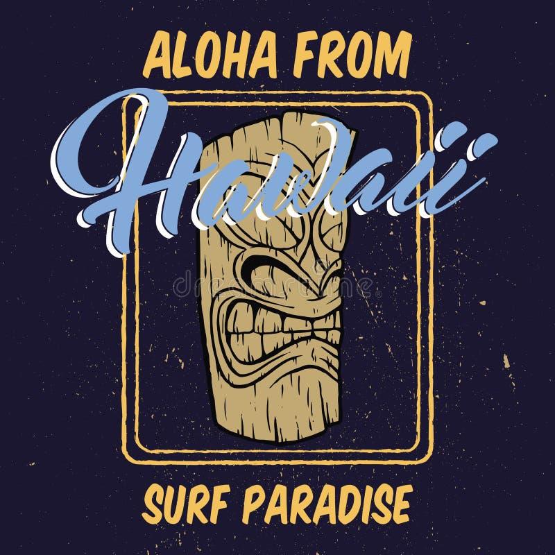 Aloha Гаваи с иллюстрацией головы tiki иллюстрация вектора