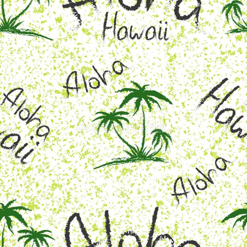 Aloha Гавайи цитируют печатные и чертежи футболок Непрозрачная модель с пальмовыми деревьями, связанными с модными футболками иллюстрация вектора