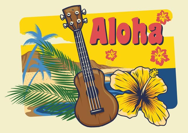 Aloha гавайская гитара Гавайских островов в винтажном стиле бесплатная иллюстрация