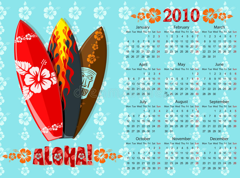 aloha голубые доски calendar вектор прибоя иллюстрация вектора