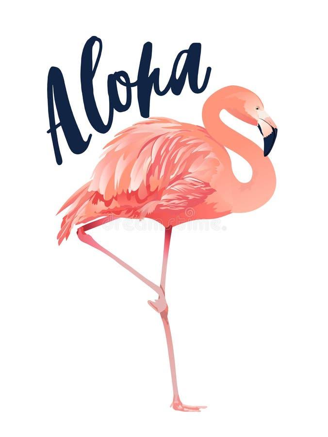 Aloha иллюстрация фламинго Стиль изолированный на белой предпосылке иллюстрация вектора