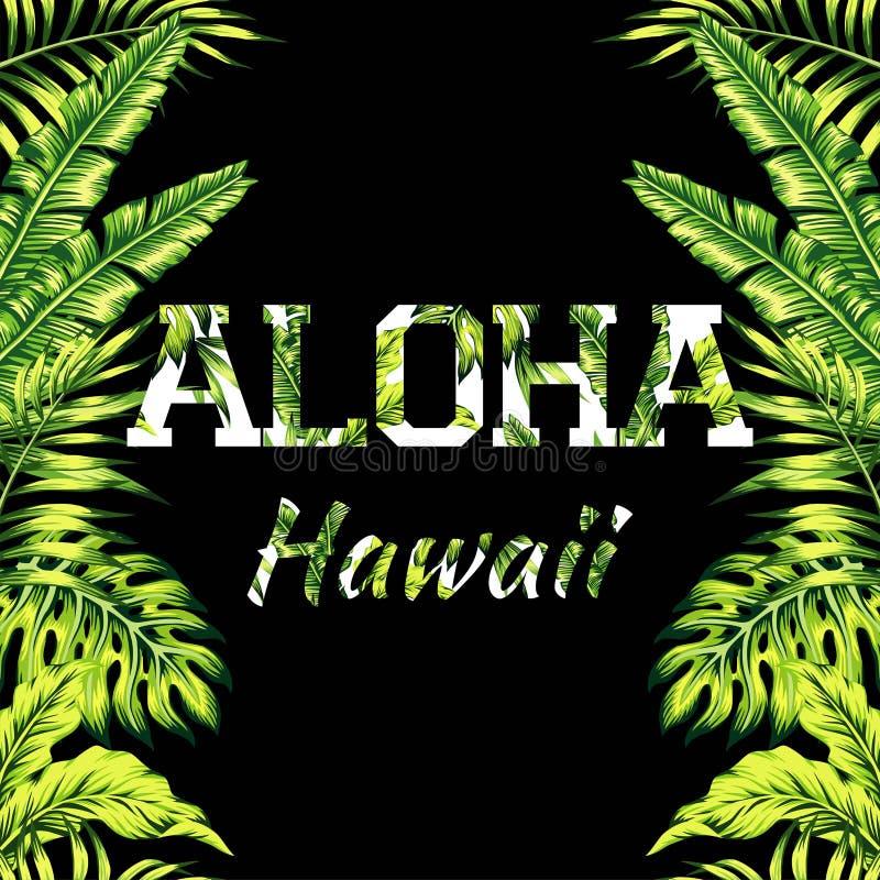 Aloha иллюстрация Гаваи, ладонь выходит предпосылка зеркала иллюстрация вектора