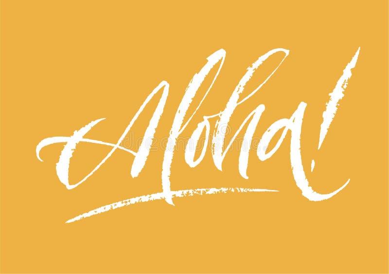 Aloha литерность Нарисованный рукой текст ручки щетки каллиграфии на яркой предпосылке Надпись открытки минимальная взрослые моло стоковые фотографии rf