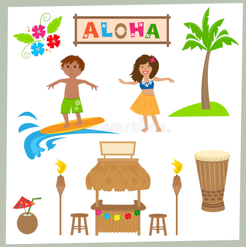 Aloha установите иллюстрация вектора