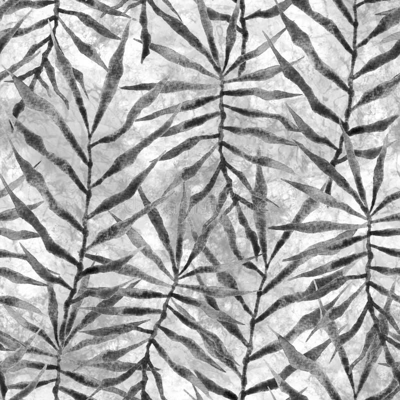 Τροπικό άνευ ραφής σχέδιο Ακανθώδης φοίνικας Watercolor απεικόνιση αποθεμάτων