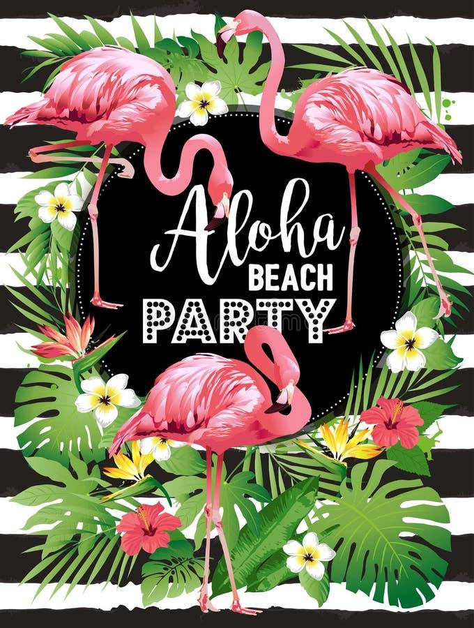 Aloha beach party. Vector illustration of tropical birds, flowers, leaves. stock illustration