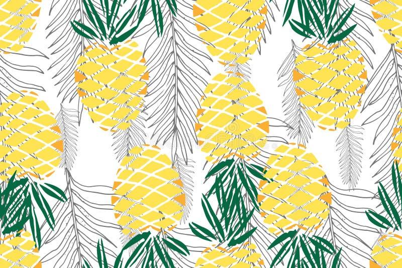 Aloha configuration sans joint hawaïenne Fruits mûrs de jus Tiré par la main illustration de vecteur