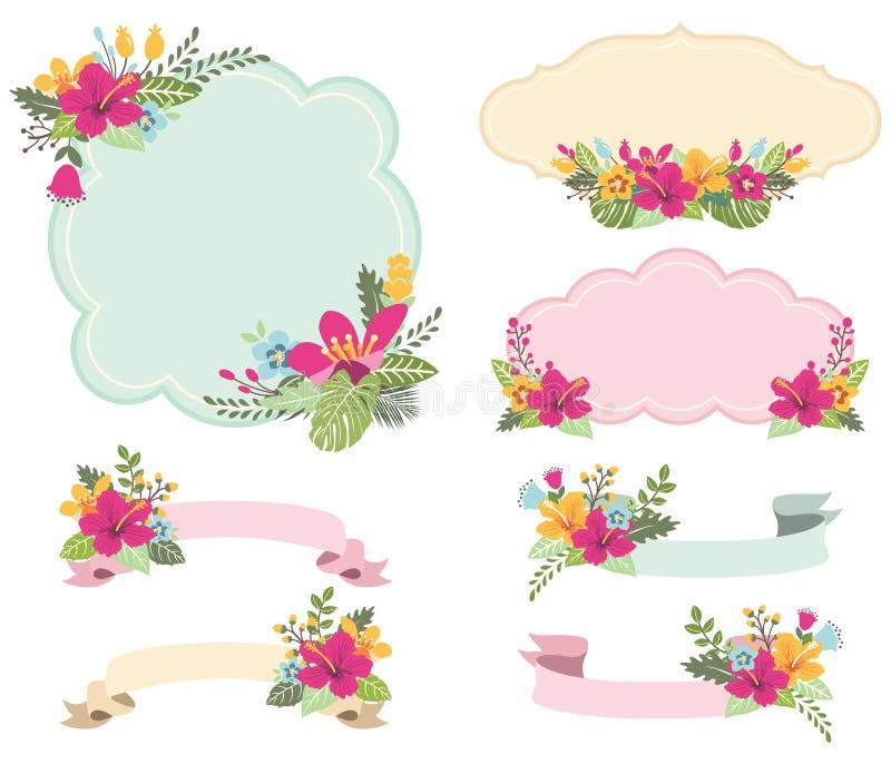 Aloha Floral Frames Set illustration de vecteur