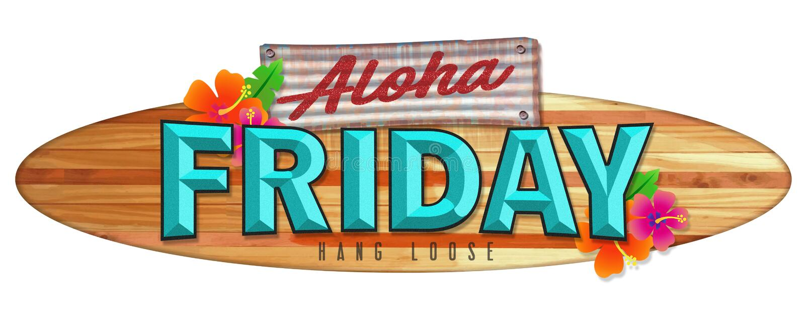 Aloha Friday Surfboard Sign. Longboard Wood Hawaii Vintage Retro colorful flowers tropical vacation travel stock illustration